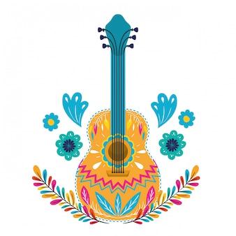 白のメキシコのギター