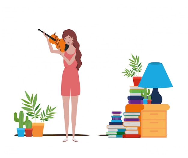 バイオリンを持つ若い女
