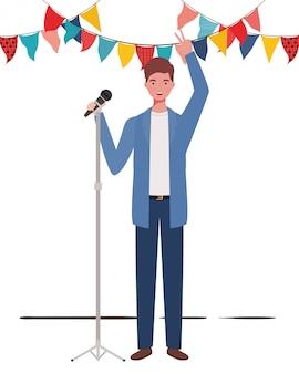 Молодой человек с микрофоном