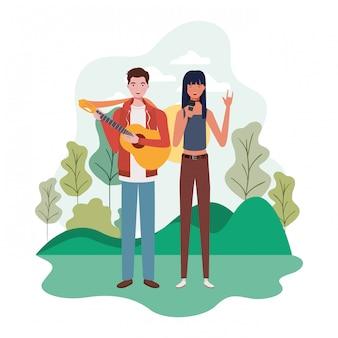 Пара людей с музыкальными инструментами и пейзажем