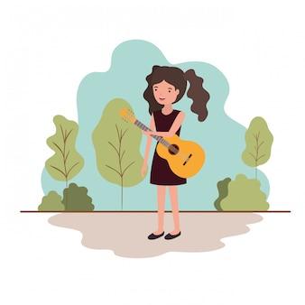 風景のアバターキャラクターのギターを持つ女性