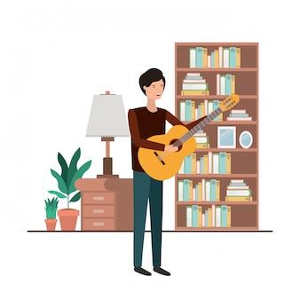 リビングルームのアバター文字でギターを持つ男