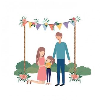 Пара родителей с дочерью в ландшафтном аватаре