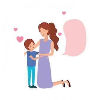 息子と音声バブルアバターキャラクターを持つ女性