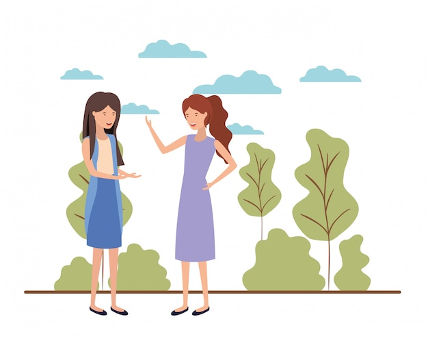 Молодые женщины с пейзажным аватаром