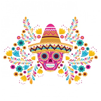 Мексиканский череп с шляпой на белой карточке
