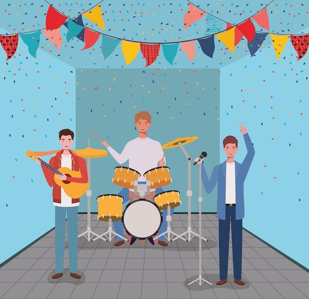 部屋で楽器を演奏する男性のグループ