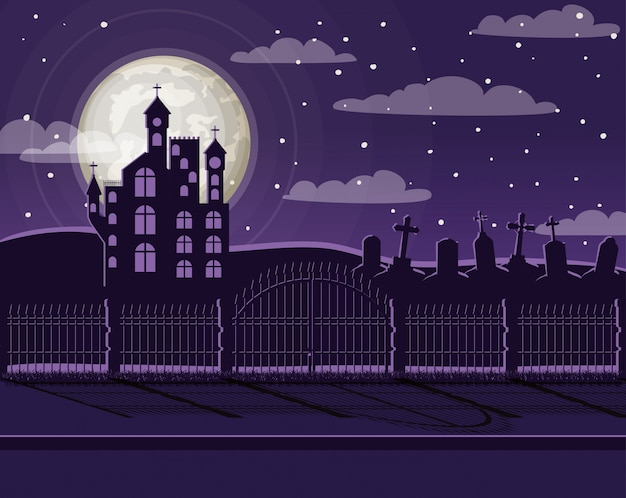 Празднование хэллоуина с кладбищем и замковой сценой