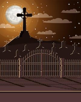墓地のシーンとハロウィーンのお祝いカード