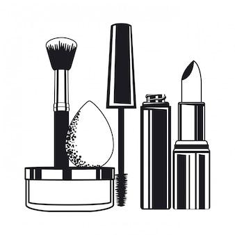 ブラシと化粧品を構成するアプリケーターのセット