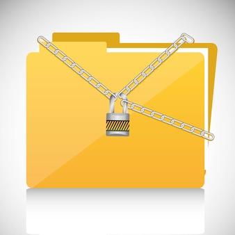 ファイルフォルダーに南京錠が付いたチェーン