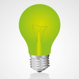 Зеленая лампочка, изолированная на белом