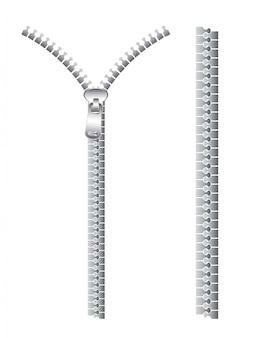 白で分離された銀のジッパー