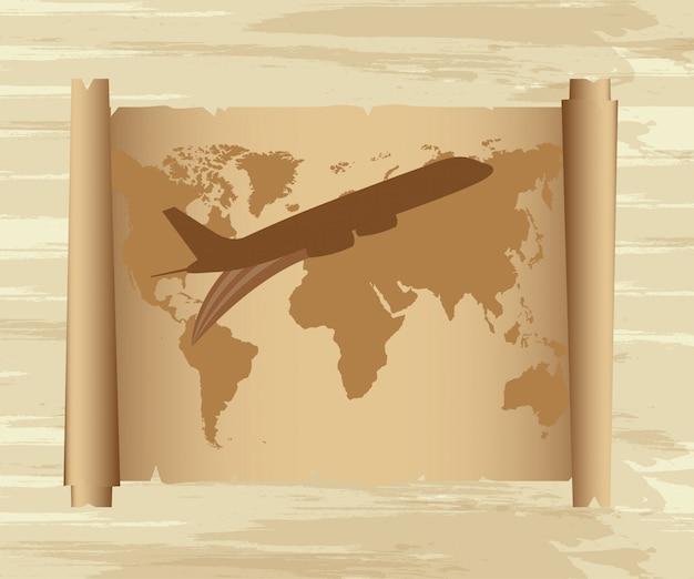 古い紙の上の地図と飛行機