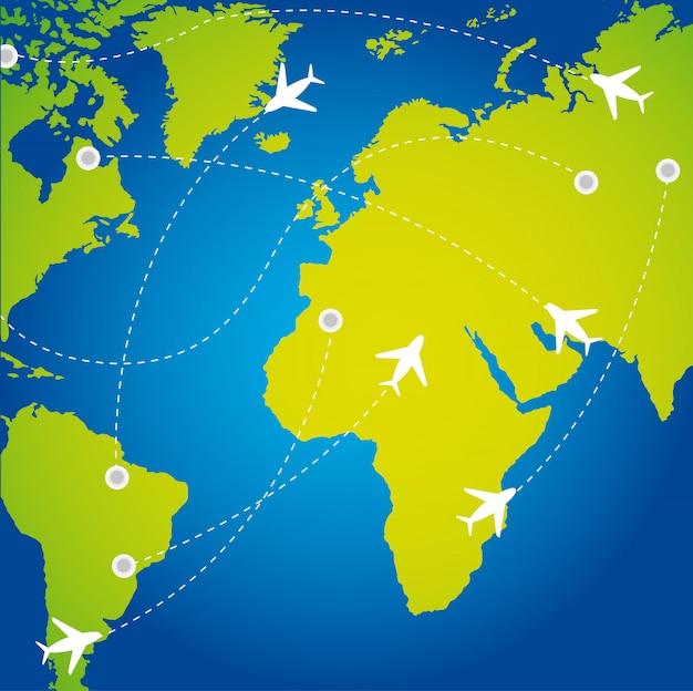 飛行機での旅行ルート