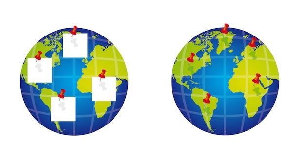 Планета с канцелярской кнопкой на белом фоне
