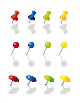 Красочная коллекция канцелярской кнопки на белом фоне