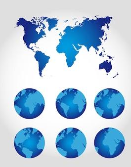 灰色の上の地図が付いている地球