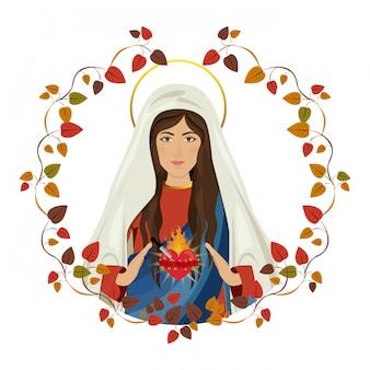 葉のフレームの聖マリア