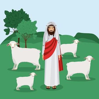 羊飼い、ベクトルイラスト