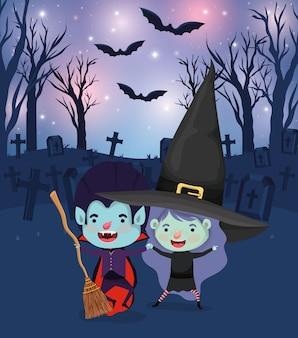 墓地で衣装を着た子供たちとハロウィーンのシーン