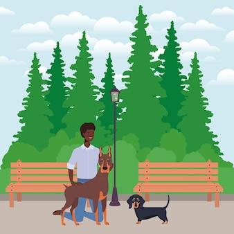Молодой афро человек с талисманами милых собак в парке