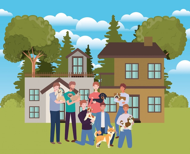 屋外の家でかわいい犬のマスコットを持つ男性のグループ