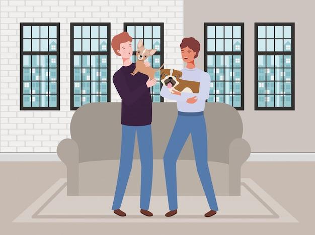 リビングルームでかわいい犬のマスコットと若い男性