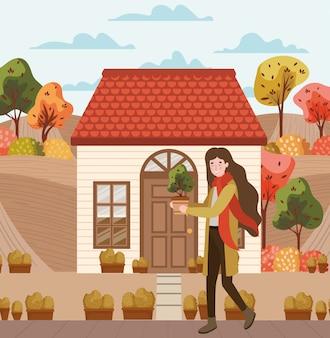 街で秋のスーツと一緒に歩いている女性