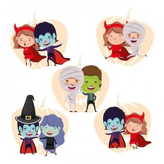 衣装のキャラクターと小さな子供たちのグループ