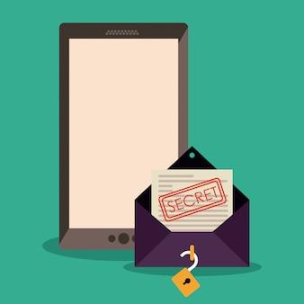 秘密の電子メールエンベロープを備えたスマートフォン。オンラインセキュリティの概念