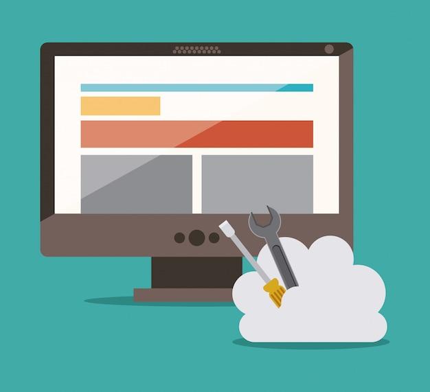 Компьютер со строительными инструментами. концепция веб-дизайна