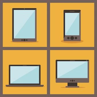 さまざまなデバイスのセット:スマートフォン、タブレット、コンピューター、ラップトップ