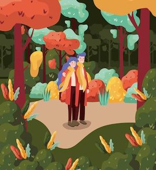 秋の森の背景