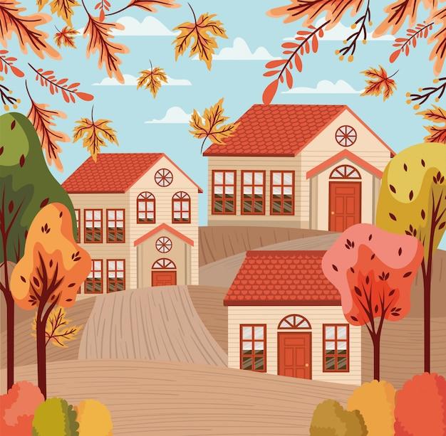 Деревня в осеннем фоне