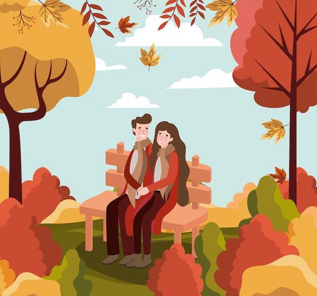 秋の背景のカップル