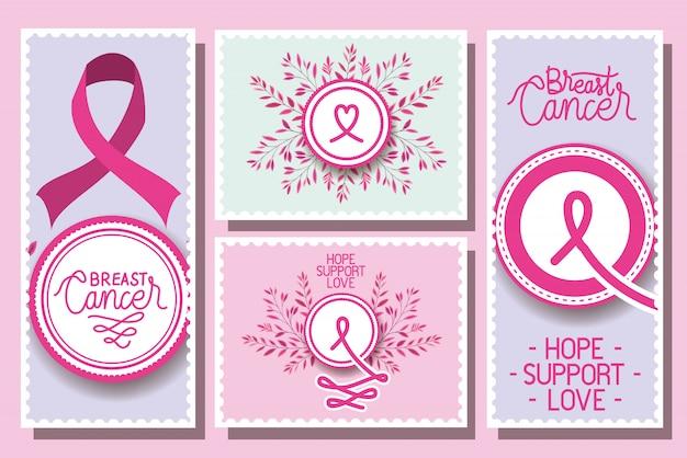 Набор карточных кампаний с информацией о раке молочной железы