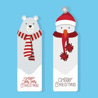 Счастливого рождества сцена с белым медведем и снеговиком