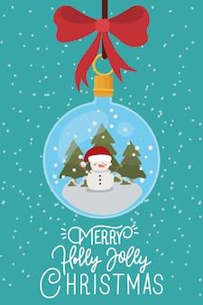 ボールぶら下げと幸せなクリスマスシーン