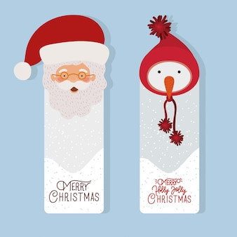 Счастливого рождества сцена с санта-клаусом и снеговиком