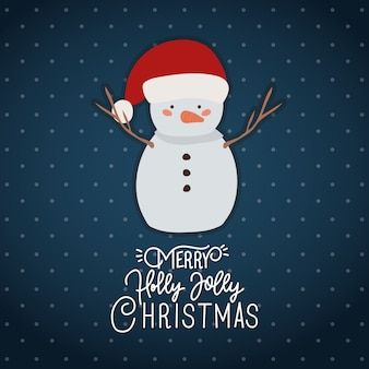 Счастливого рождества сцена с характером снеговика