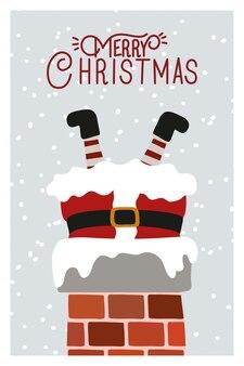 Счастливого рождества сцена с санта-клаусом в дымоход