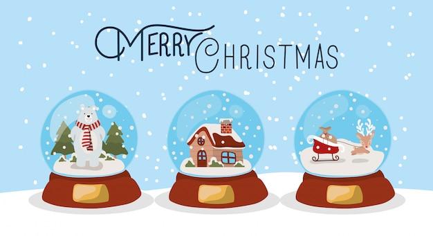 クリスタルボールと幸せなクリスマスシーン