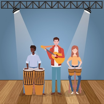 楽器のキャラクターを演奏するグループ音楽バンド