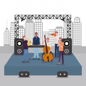 楽器を演奏する男性音楽バンドのグループ