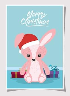Счастливого рождества сцена с маленьким кроликом