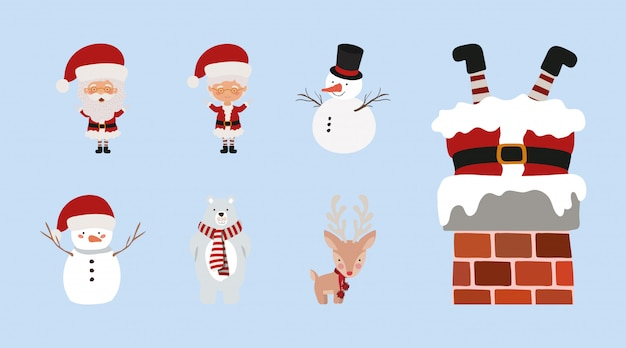 クリスマスのかわいいキャラクターのセット