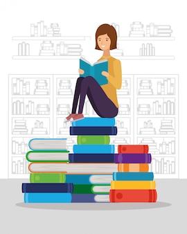 本学生キャラクターを読む女性学生