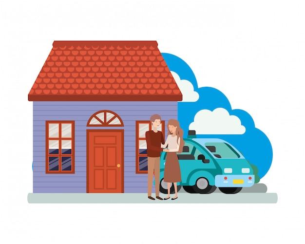 Молодая пара с умной машиной и домом