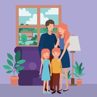 Милые и счастливые члены семьи в гостиной